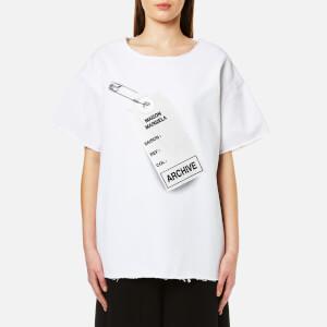 MM6 Maison Margiela Women's Oversized Tag Logo T-Shirt - White