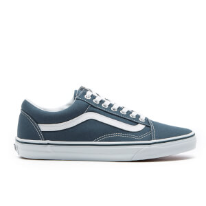 Vans Men's Old Skool Canvas Trainers - Dark Slate/True White