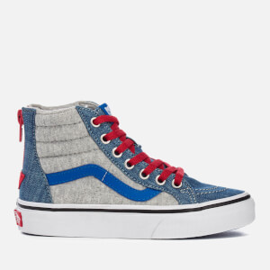 Vans Kids' Sk8-Hi Zip Jersey/Denim Hi-Top Trainers - Imperial Blue/True White