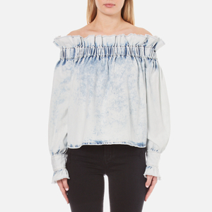 MSGM Women's Ruffles Top - Bleached Denim