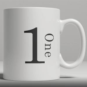 Alphabet Keramik Designer Tasse - Nummer 1