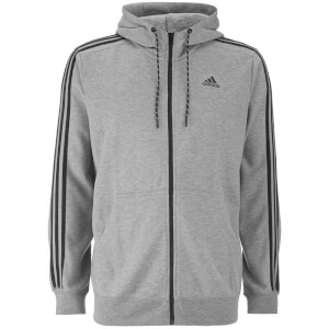 adidas Men's Essential 3 Stripe Hoody - Grey
