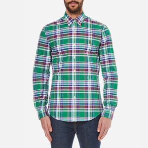 Polo Ralph Lauren Men's Long Sleeved Shirt - Green/Wine
