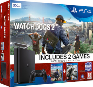 PlayStation 4 Slim 500GB Console - Includes Watchdogs and Watchdogs 2
