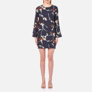 Ganni Women's Dalton Crepe Long Sleeve Dress - Total Eclipse