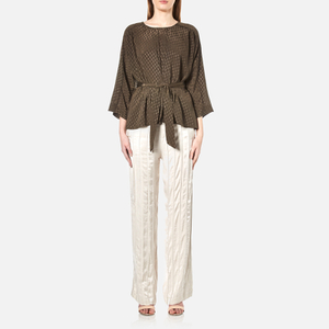 Gestuz Women's Jacquard Satin Top - Brown Olive