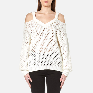 Gestuz Women's Alvi Cable Cold Shoulder Pullover - Cloud Dancer
