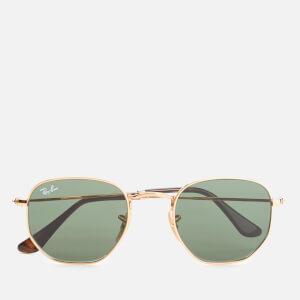 Ray-Ban Hexagonal Metal Frame Sunglasses - Gold/Green