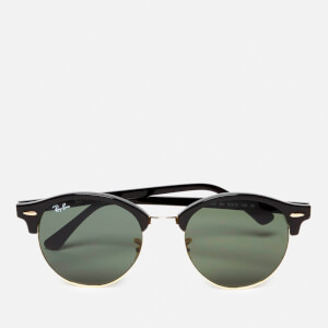 Ray-Ban Clubround Flat Lenses Half Metal Frame Sunglasses - Black