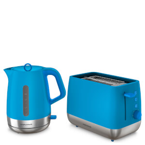 Morphy Richards Chrome Kettle and 2 Slice Toaster Bundle - Iris Blue