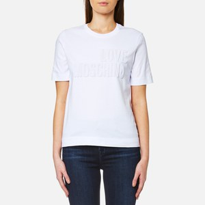 Love Moschino Women's Logo Embossed T-Shirt - White