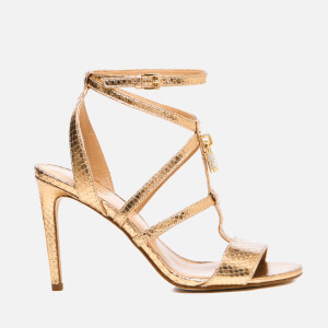 MICHAEL MICHAEL KORS Women's Antoinette Leather Metallic Heeled Sandals - Pale Gold
