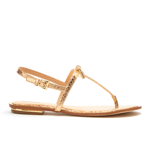 MICHAEL MICHAEL KORS Women's Suki Leather Flat Sandals - Pale Gold