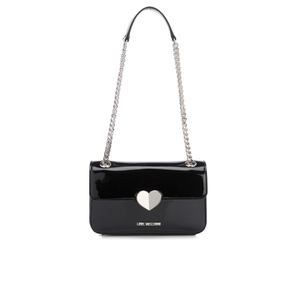Love Moschino Women's Love Mini Heart Double Chain Strap Shoulder Bag - Black