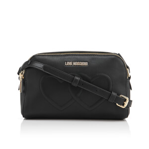 Love Moschino Women's Love Heart Embossed Mini Cross Body Bag - Black