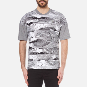 Lacoste L!ve Men's Graphic Print T-Shirt - White/Black/Light Grey Jaspe