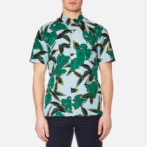 Lacoste L!ve Men's Graphic Print Short Sleeve Shirt - Breeze/Multi
