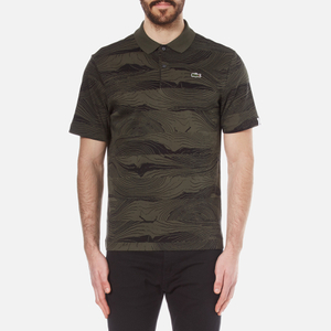 Lacoste L!ve Men's Graphic Printed Polo Shirt - Baobab/Black