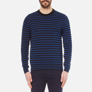 PS by Paul Smith Men's Crew Neck Collar Detail Knitted Jumper - Black