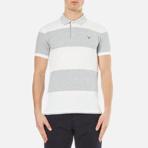GANT Men's Barstripe Oxford Pique Rugger Polo Shirt - Light Grey Melange