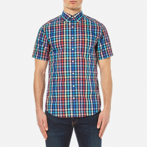 GANT Men's Small Check Short Sleeve Shirt - Persian Blue