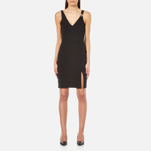 Versus Versace Women's V-Neck Dress with Side Slit - Black