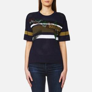 KENZO Women's Broken Camo Beaded Mesh Knit T-Shirt - Midnight Blue