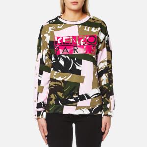 KENZO Women's Broken Camo Cotton Molleton Logo Sweatshirt - Pale Khaki