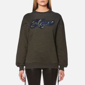KENZO Women's Light Cotton Molleton Oversized Logo Sweatshirt - Dark Khaki