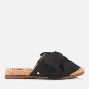 Sam Edelman Women's Henna Suede Bow Front Slide Sandals - Black
