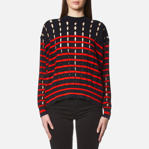 T by Alexander Wang Women's Stripe Cotton Crew Neck Pullover With Slits - Navy/Lipstick