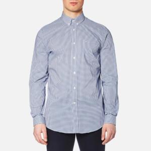 Lacoste Men's Gingham Long Sleeve Shirt - Inkwell/White
