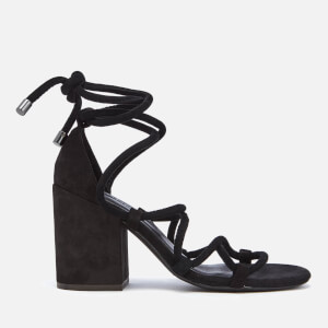 Senso Women's Wyatt Suede Lace Up Blocked Heeled Sandals - Ebony