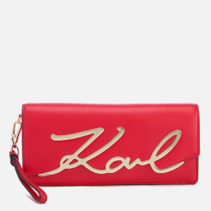 Karl Lagerfeld Women's K/Metal Signature Clutch - Cherry