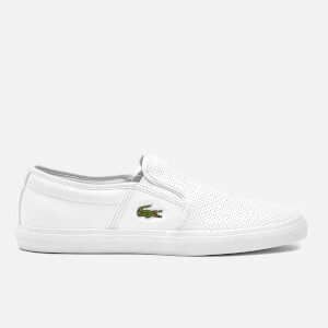 Lacoste Men's Gazon BL 1 Perforated Leather Slip-On Trainers - White