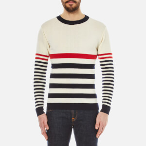 Maison Kitsuné Men's Stripes Jumper - Ecru