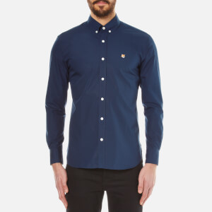 Maison Kitsuné Men's Classic Poplin Long Sleeve Shirt - Navy