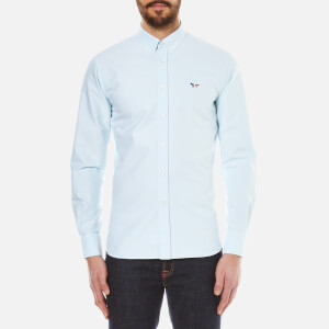 Maison Kitsuné Men's Tricolour Patch Classic Long Sleeve Shirt - Mint