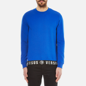 Versus Versace Men's Sweatshirt with Logo Hem - Blue