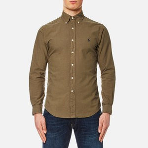 Polo Ralph Lauren Men's Garment Overdye Slim Fit Shirt - Olive