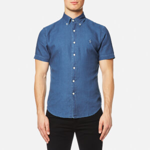 Polo Ralph Lauren Men's Short Sleeve Slim Fit Oxford Shirt - Denim Washed Blue