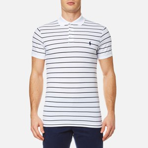 Polo Ralph Lauren Men's Stretch Mesh Striped Polo Shirt - White