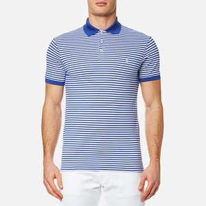 Polo Ralph Lauren Men's Stretch Mesh Striped Polo Shirt - Blue/White