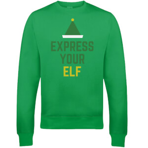 Pull de Noël Homme Express Your Elf - Vert