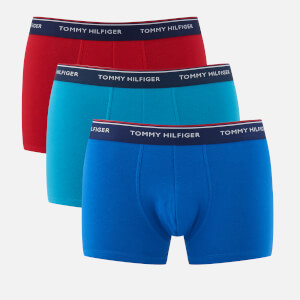Tommy Hilfiger Men's 3 Pack Trunk Boxer Shorts - Bluejay/Classic Blue/Tango Red
