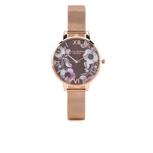 Olivia Burton Women's Poppy Flower Rose Gold Mesh Watch - Rose Gold