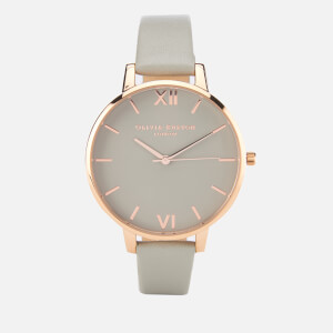Olivia Burton Women's Big Dial Grey and Rose Gold Watch - Rose Gold
