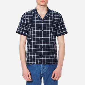 Folk Men's Cuban Collar Shirt - Navy Check
