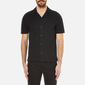 Folk Men's Textured Jersey Cuban Collar Shirt - Black
