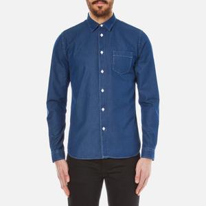 Folk Men's Long Sleeve Shirt - Bleached Denim